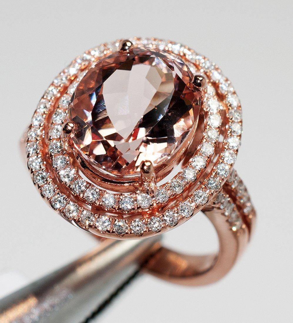 5.15ct Morganite & 0.69ct Diamond 14KT Rose Gold Ring