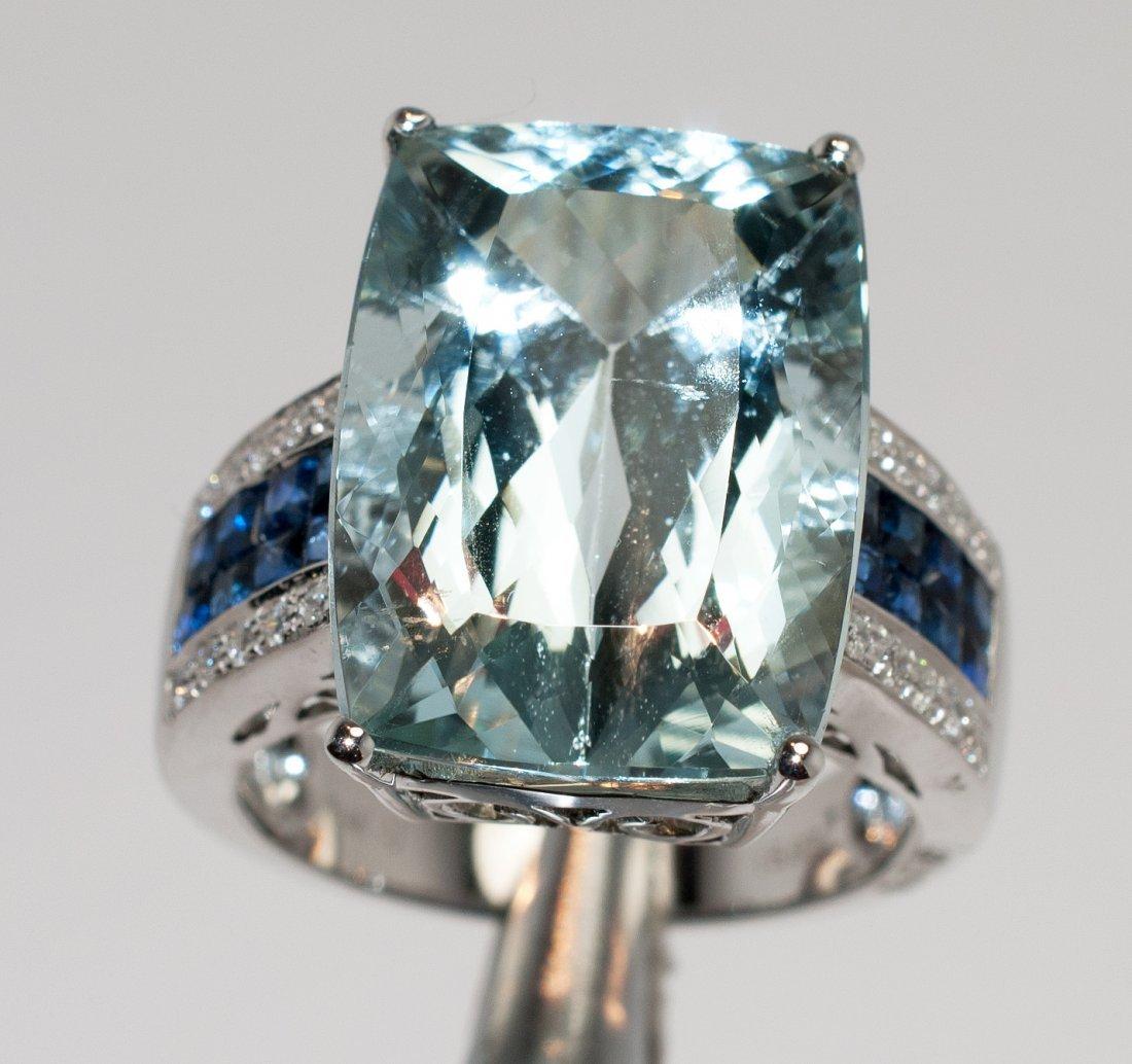 15.97ct Aquamarine & 1.17ctw Diam/Sapphire 14KT Ring - 2