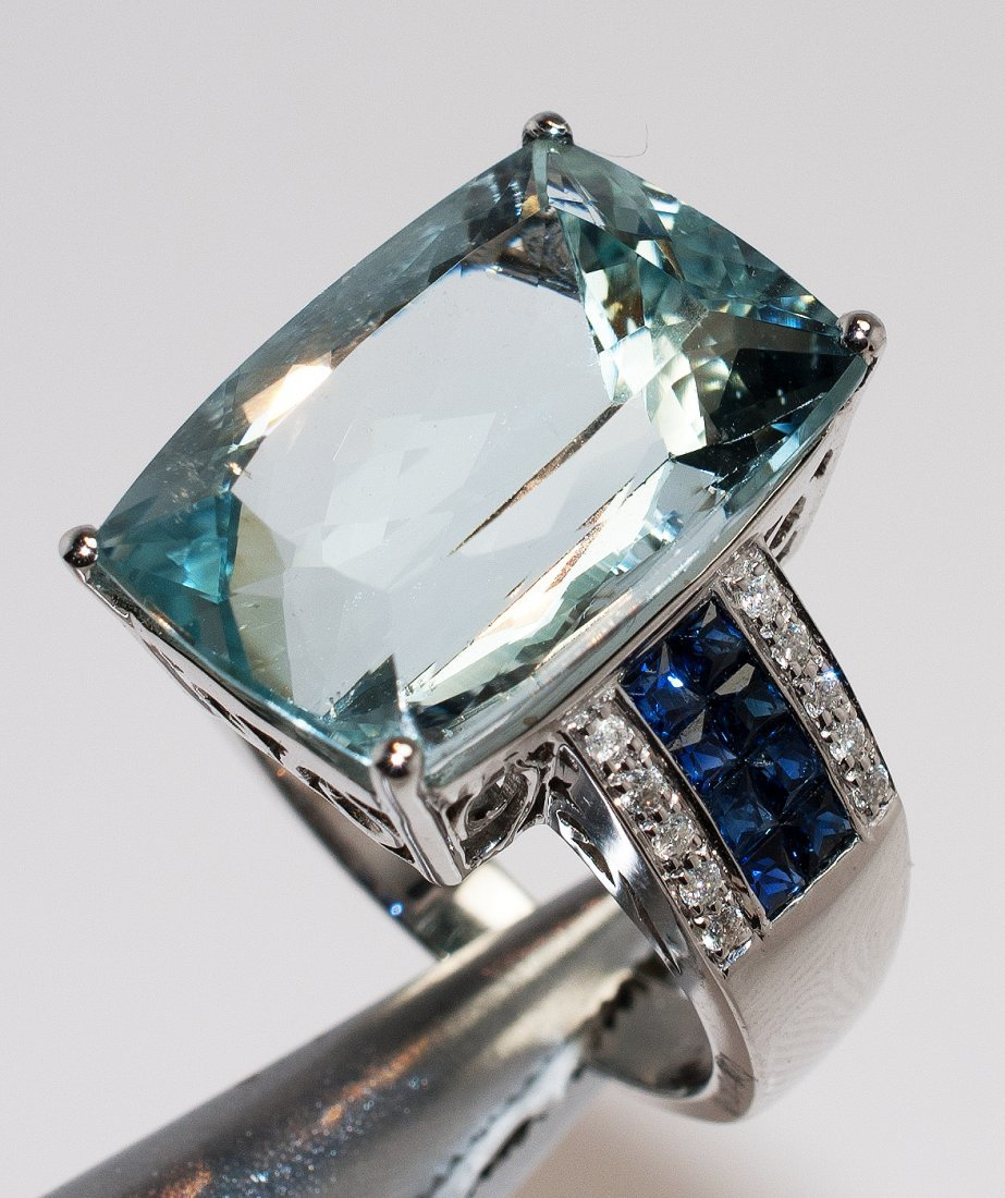 15.97ct Aquamarine & 1.17ctw Diam/Sapphire 14KT Ring - 3