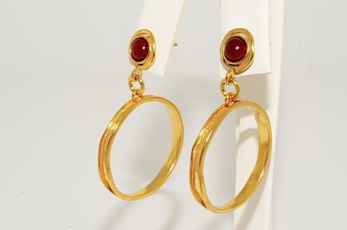 1: 1.00ct Carnelian Solitaire Sterling Dangle Earrings