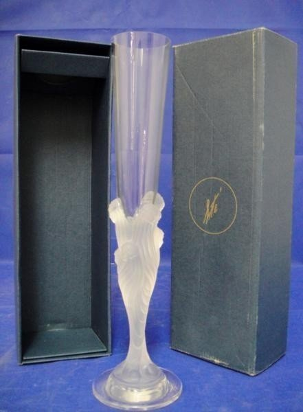 4C: SIGNED Erte Flute Glass in Original Box