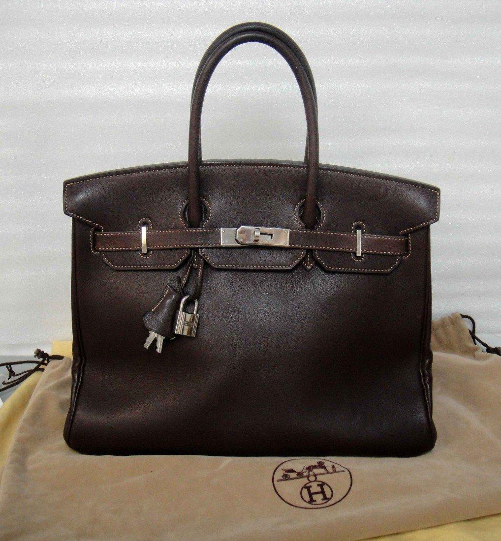 56D: Authentic Hermes Birkin Brown FJORD 35CM Handbag