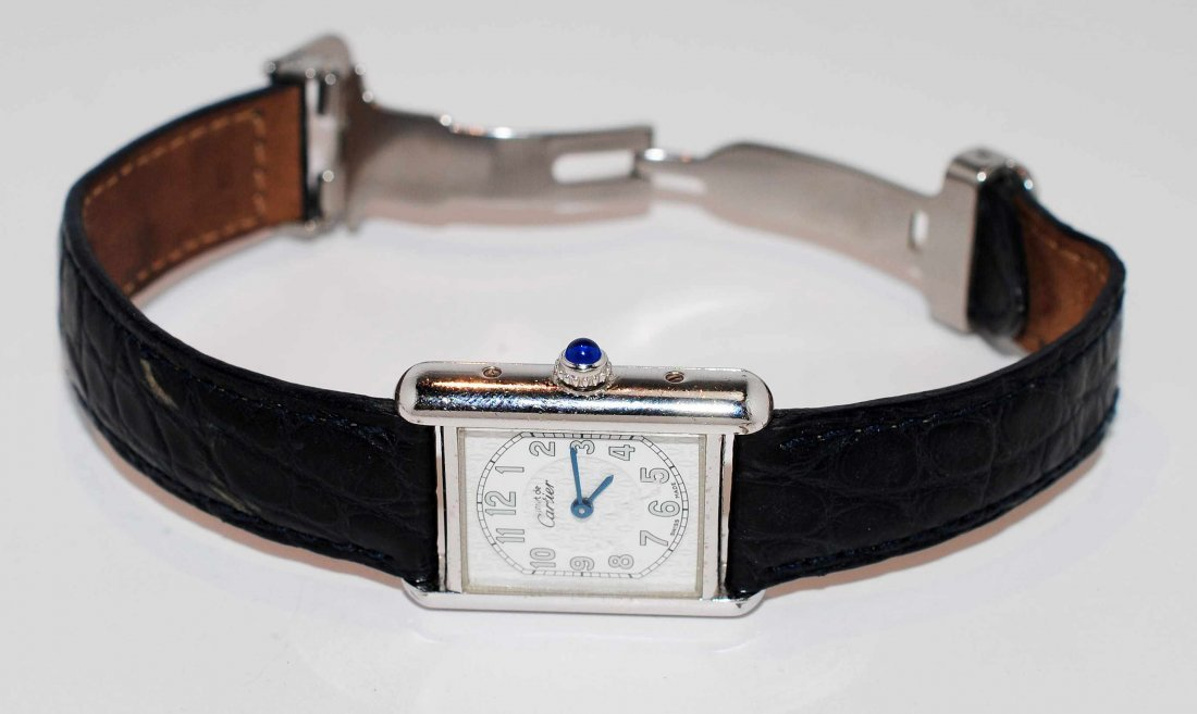 Genuine Cartier .925 Sterling Silver LeatherStrap Watch