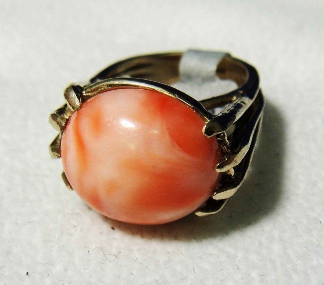 Natural Coral 14KT Yellow Gold Ring