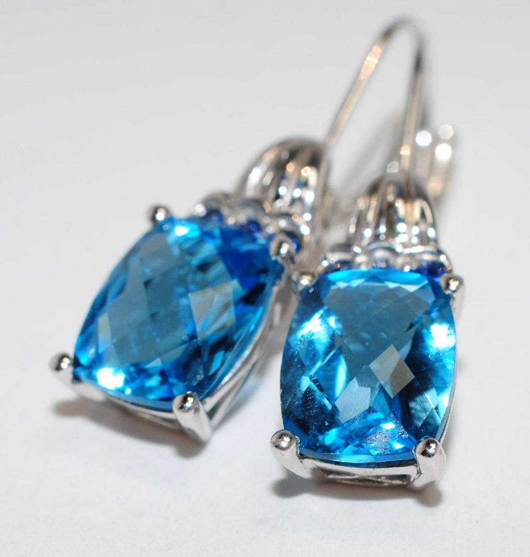 6.20ctw Topaz & Sapphire .925 Sterling ladies Earrings