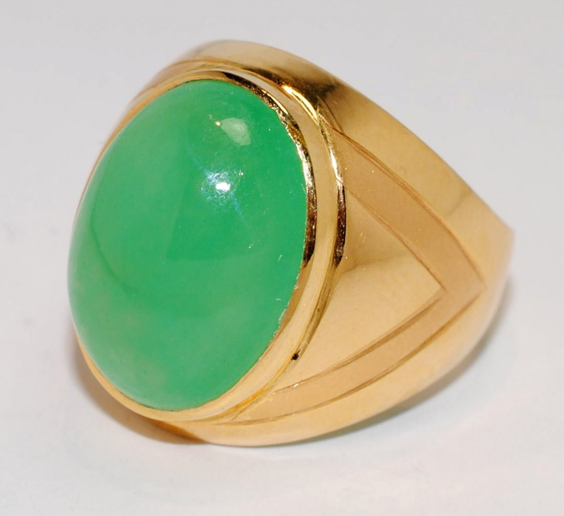 14KT Yellow Gold 9.38ct Natural Jadeite Ring