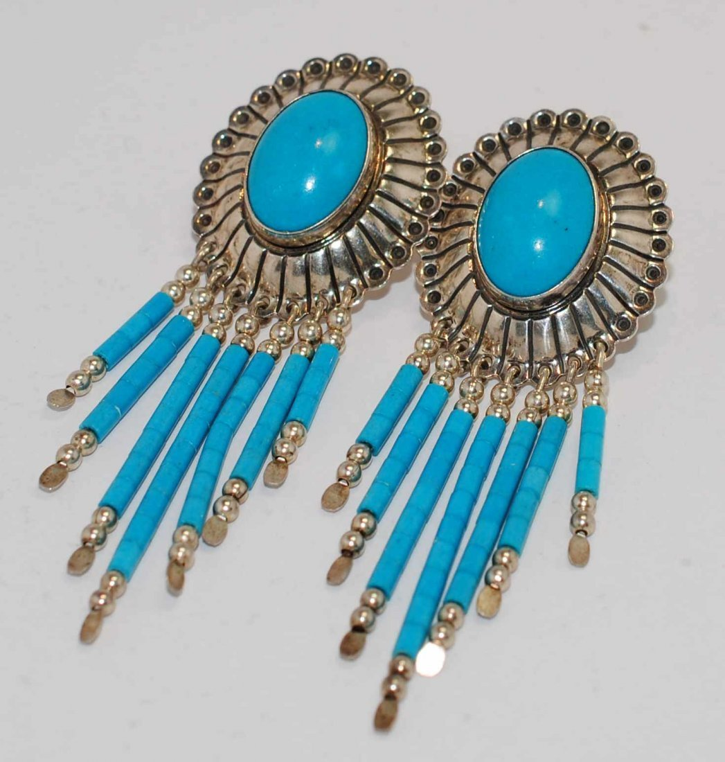 Old Style Turquoise .925 Sterling Silver Earrings