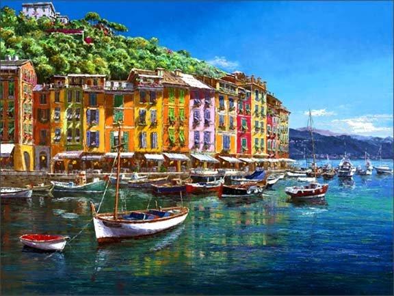 """2B: Sam Park """"Portofino """"  Giclee on Canvas ."""
