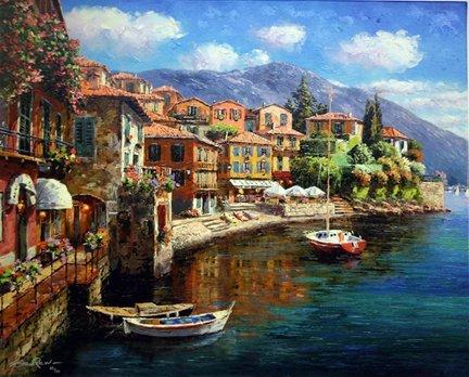 "3B: Sam Park ""Harbor at Varenna""Giclee on Canvas"