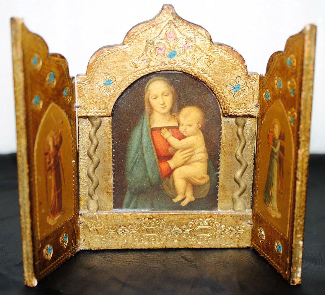 "1C: Vintage Italian ""Madonna & Child"" Ornate Triptych"