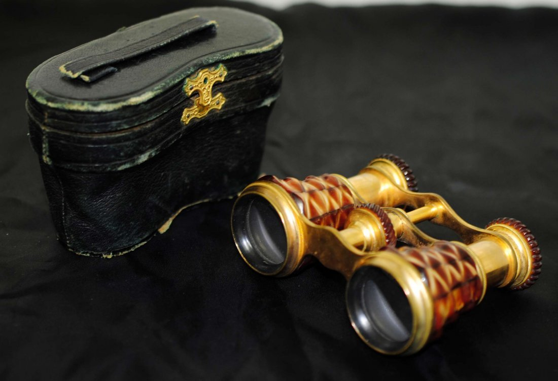 3C: Antique French Binoculars w/ Leather Case