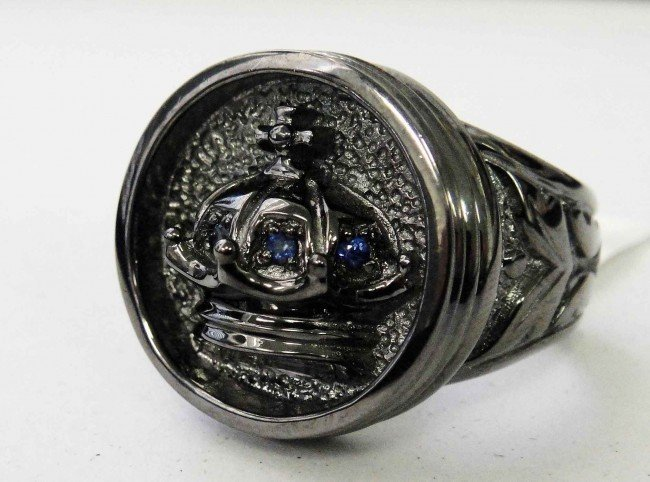 1DA: Black PVD Covered Sterling Silver & Sapphire Ring