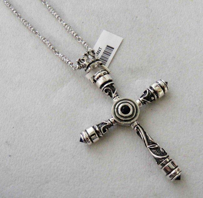 3DA: Sterling Silver Ceylon Sapphire Cross w/ Silver Ch
