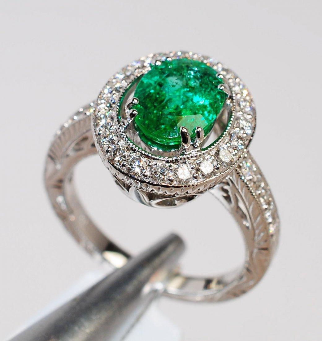 1A: 1.74ct Emerald & 0.61ctw Diamond 18KT Gold Ring