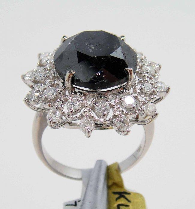 2A: 11.80ctw (10.79ct Black CNTR) White Diamond 14KT Ri