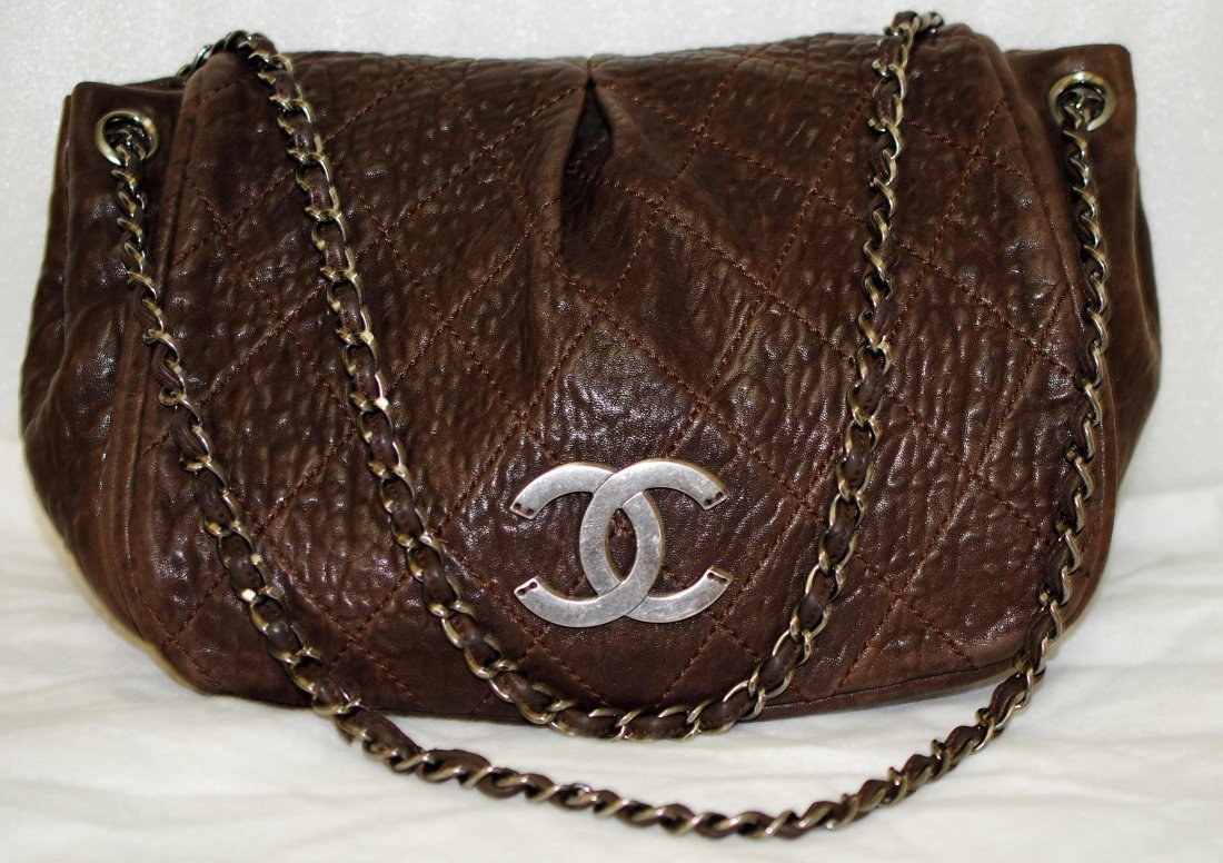 1F: Genuine CHANEL Quilted Distressed Brown Hand Bag