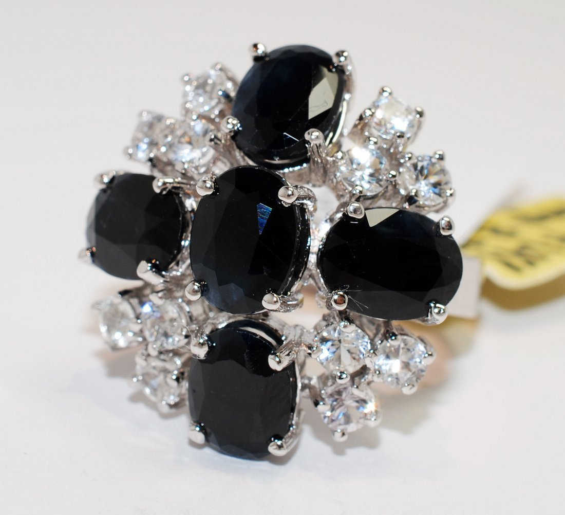 10.29ctw Blue & CL-Sapp Platinum plated Ring
