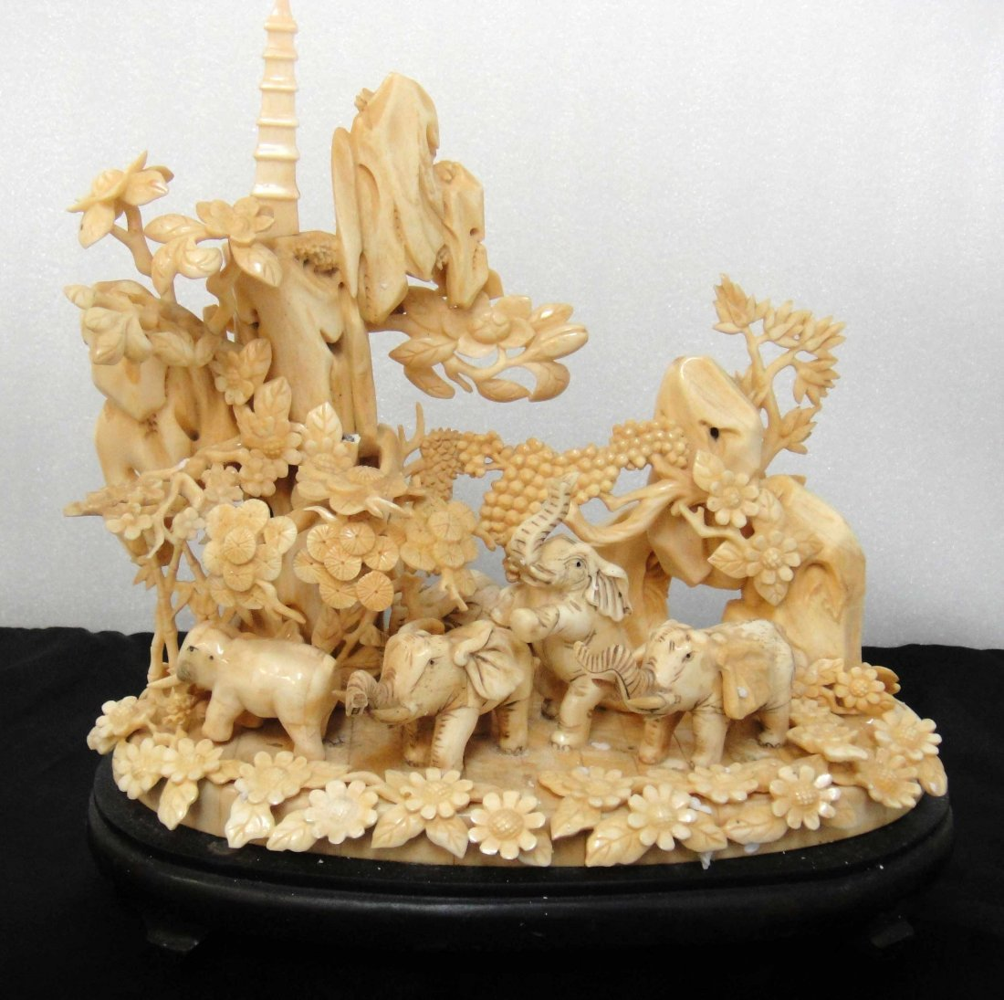 1C: Beautiful Chinese Ox Bone Carved Landscape