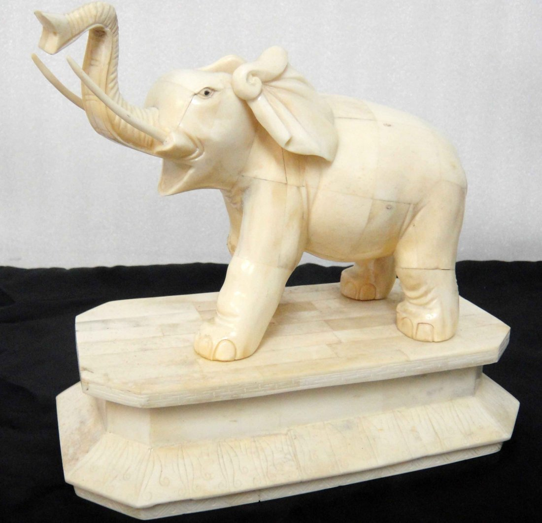 3C: Vintage Carved Ox Bone Elephant Sculpture 8x9""