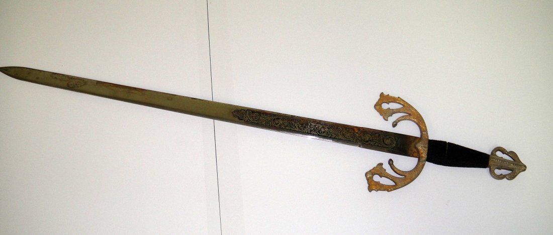 1Z: Antique Steel Engraved Sword 28""