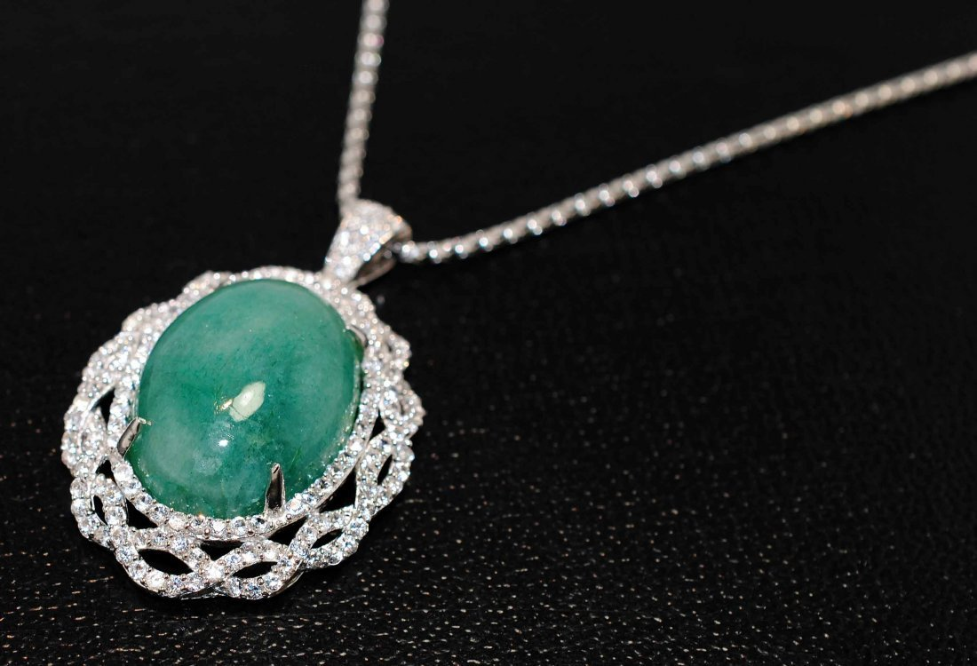 29.04ct Emerald & 3.32ct CL Sap. Platinum Plated Pendan