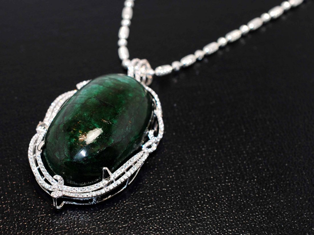206.29ct Emerald & 2.47ct CL Sap Platinum plated Pendan