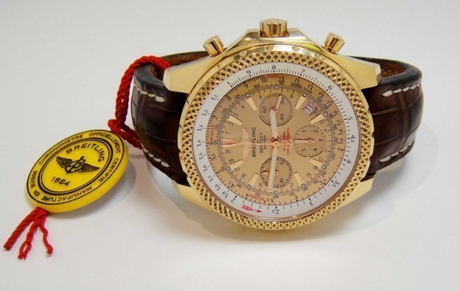 156: Breitling Bentley Motors Chronograph 18KT Gold Wa