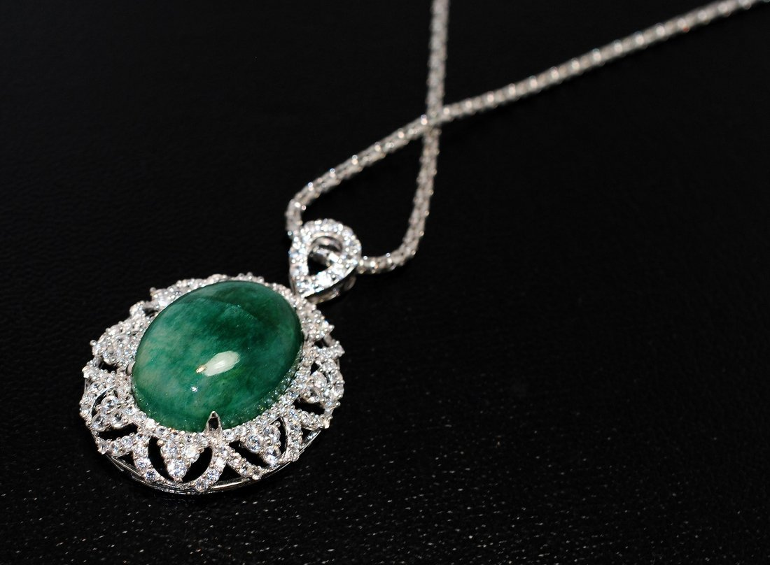 30.34ct Emerald / CL Sapp Platinum Plated Sterl Pendant