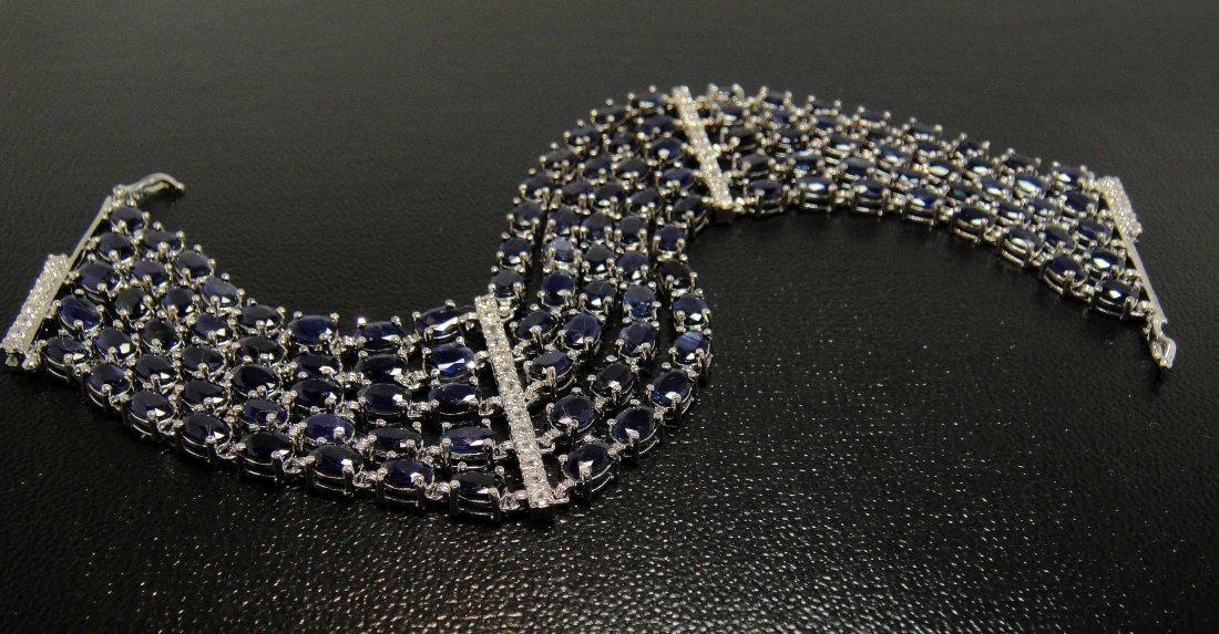 4B: 59.65ctw Blue / CL Sapphire Platinum Plated Bracele