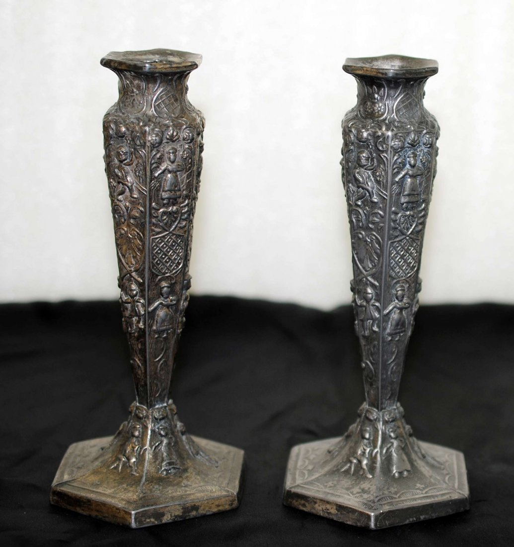 """1O: Antique Embossed Candle Sticks 5"""""""