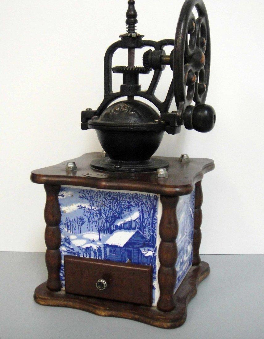 "3C: Vintage Currier and Ives Coffee Grinder 12 x 6"""
