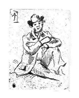 "2ZA: Cezanne ""Self Portrait w/ William Hanging"" Engrav"