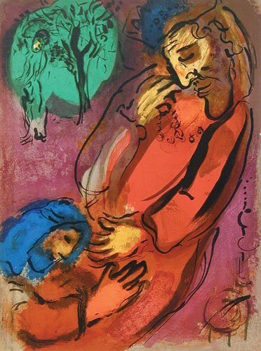 """1WA: Marc Chagall """"David and Absalom"""" Color Lithograph"""