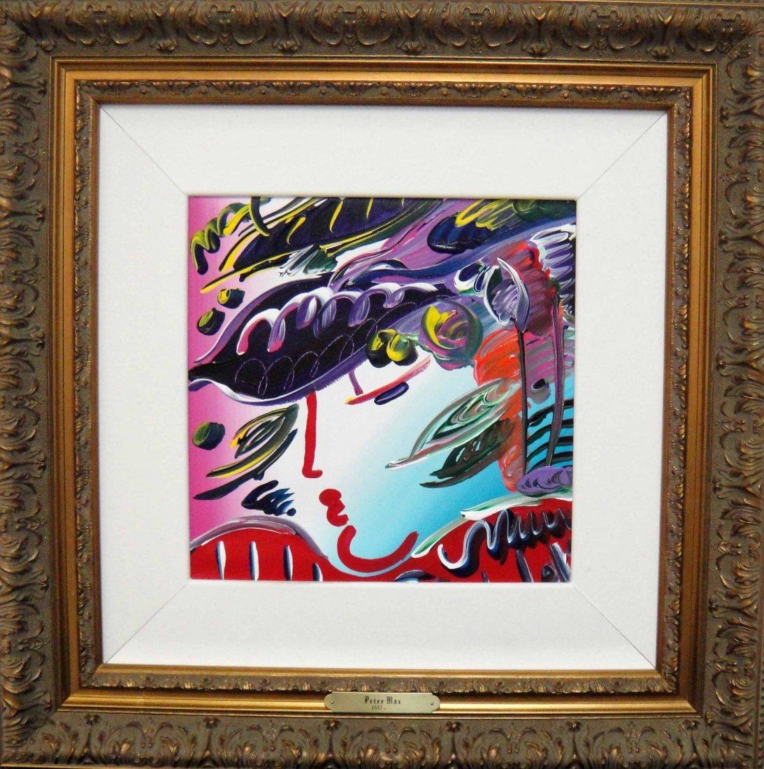 "Peter Max ""Blushing Beauty"" Original acrylic on Canvas"