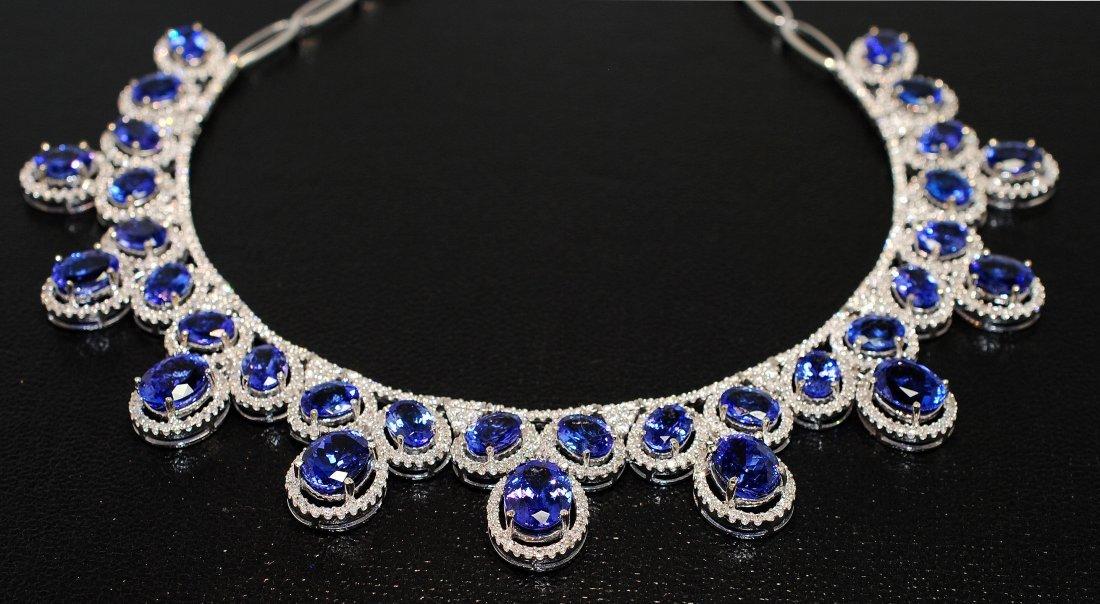 52.73ct Tanzanite & 7.39ct Diamond 14KT Gold Necklace