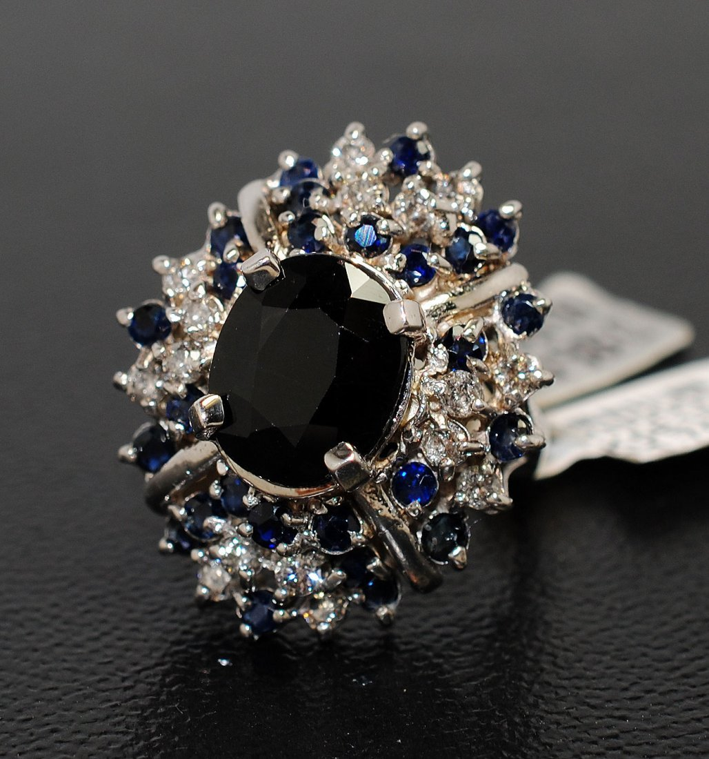 10.53ct Sapphire & 0.83ct Diamond Sterling Silver Ring