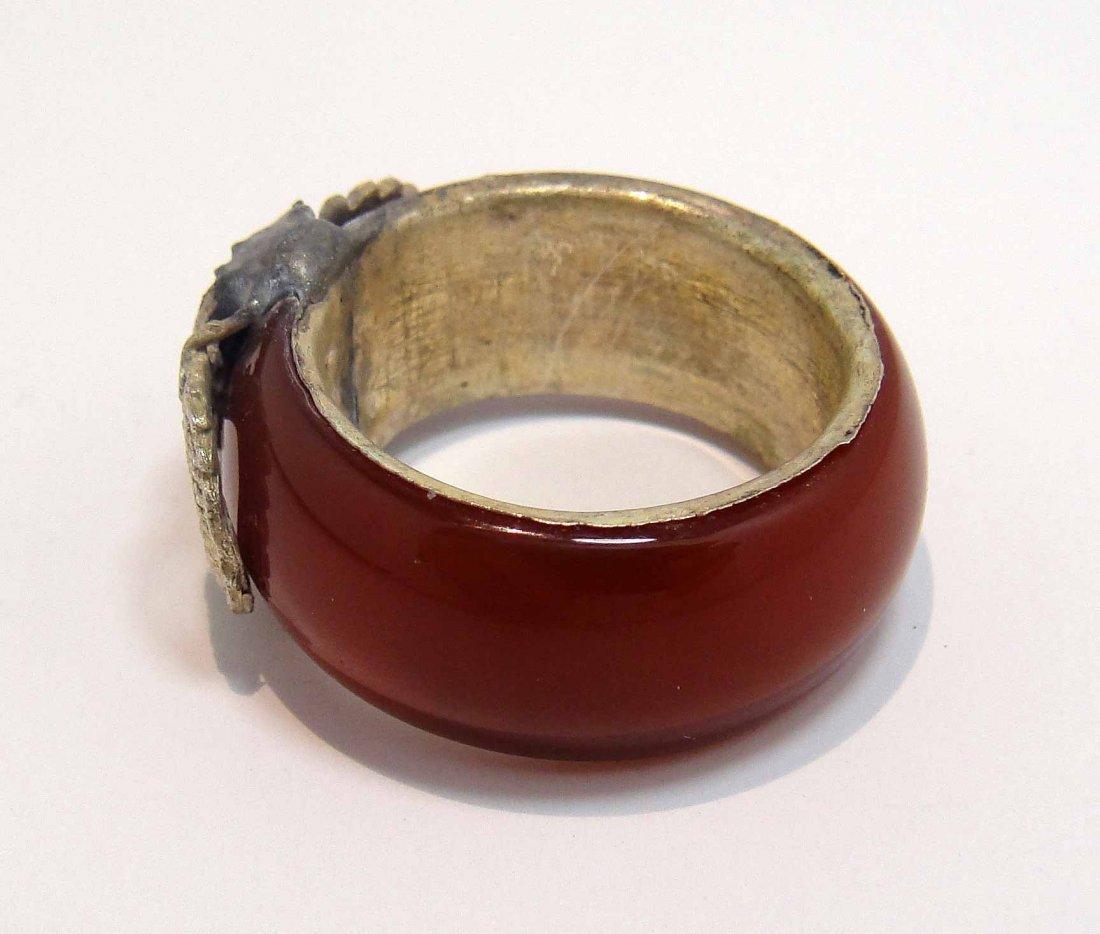 14D: Rare tibet silver dragon inlay red jade men's ring - 2