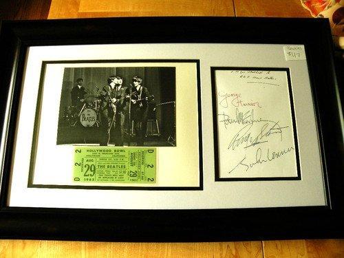 2DA: Beatles Framed Photo, Concert Ticket and Autograph
