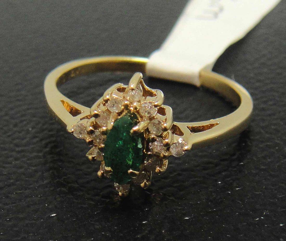 3CA: .20ct Emerald & .15ct Diamond 14KT Gold Ring