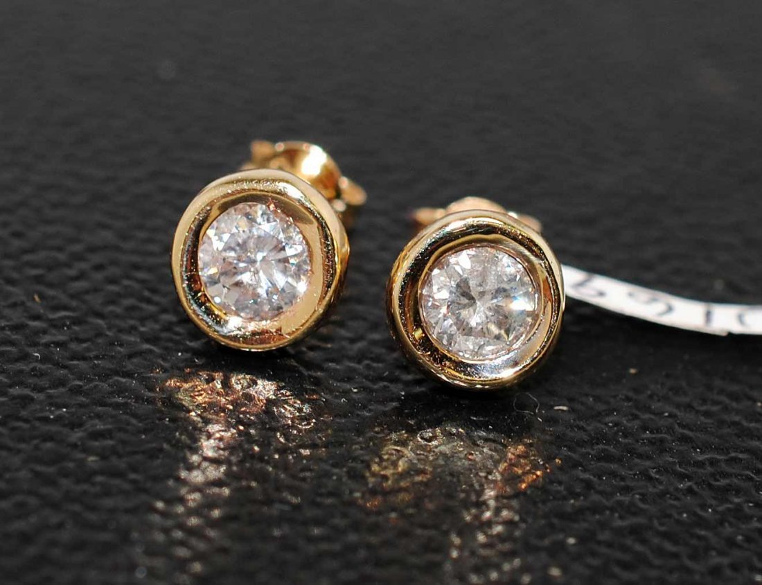 0.50ct Diamond 14KT Gold Solitaire Stud Earrings
