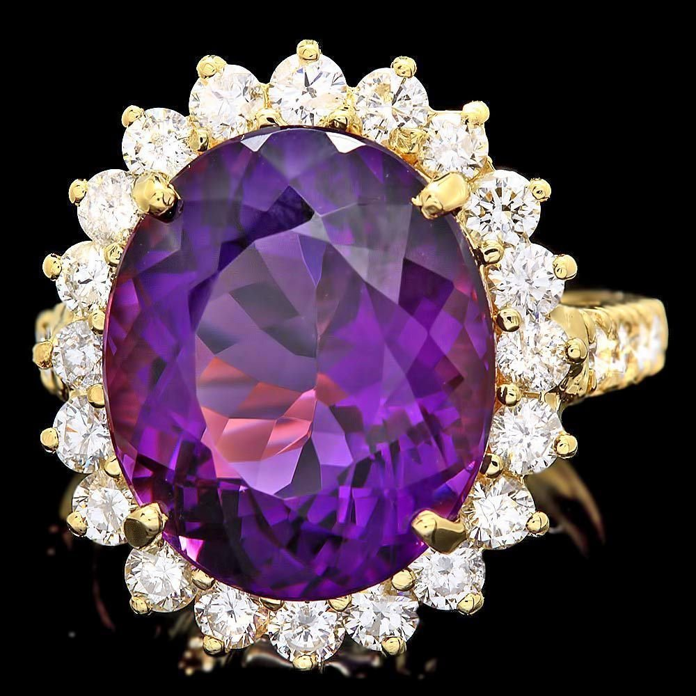 1M: $9800 CERTIFIED 14K YELLOW GOLD 9.00CT AMETHYST 1.6