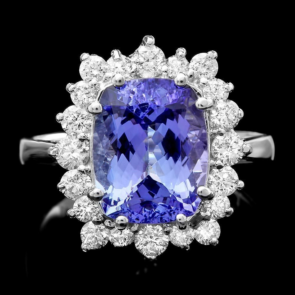 4A: $9200 CERTIFIED 14K WHITE GOLD 4.5CT TANZANITE 0.