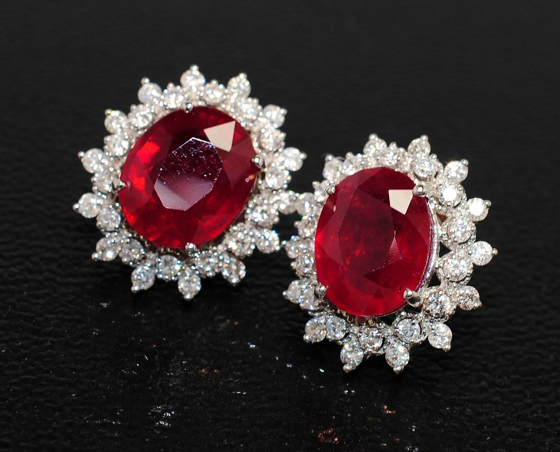 6A: 11.95ct Ruby & 1.47ct Diamond 14KT Gold Earrings