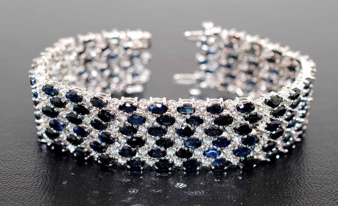 1: 48.89ctw Blue & CL Sapphire Platinum Plated Bracelet