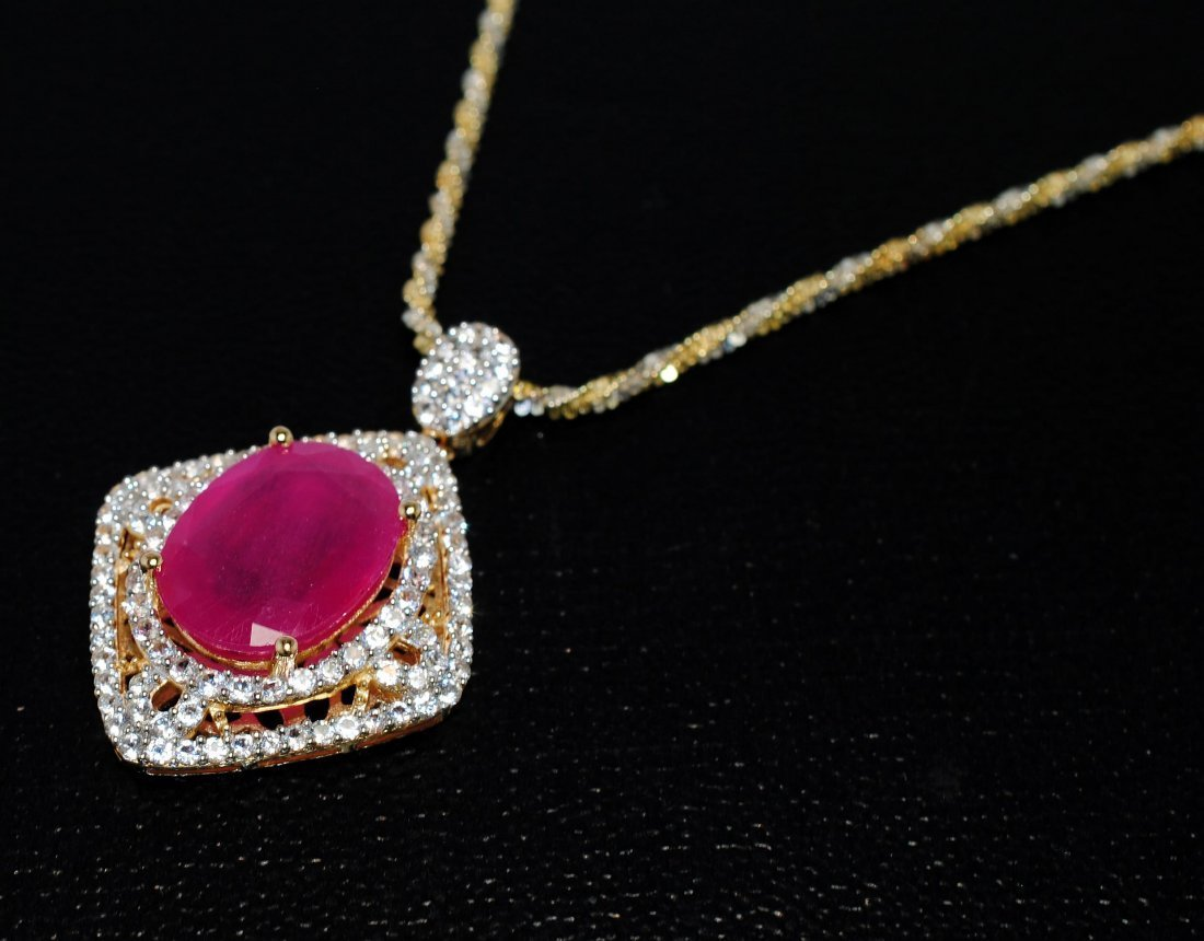 2: 11.84ct Ruby & 2.31ct CL Sapphire 14KT Sterling Pend