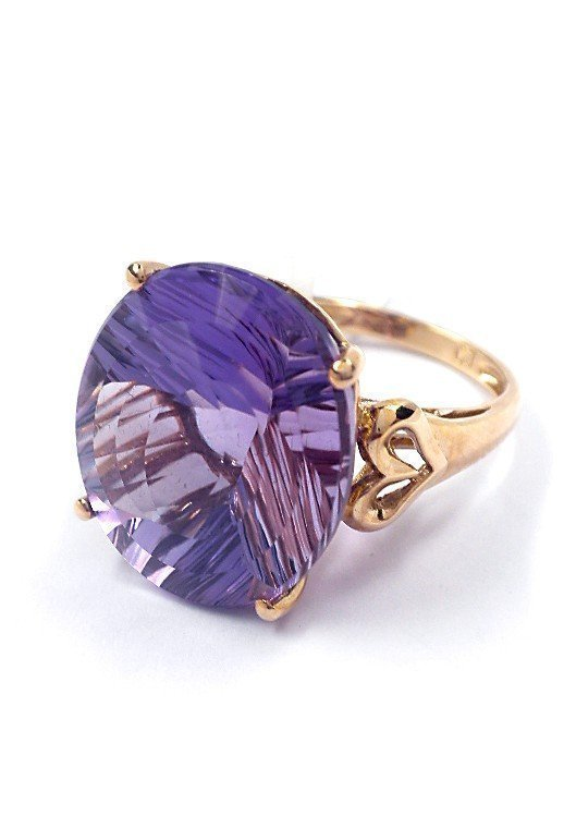 3: 10KT Gold, 17.15ct Amethyst Solitaire Ring