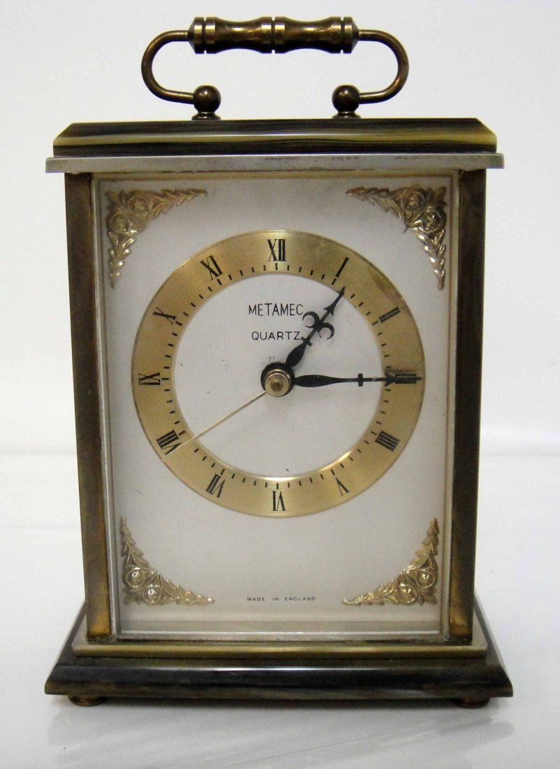 1Z: Vintage Metal Clock from England 6 x 4