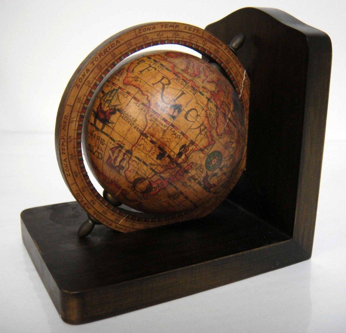 "3Z: Vintage Wooden Globe Bookend 6 x 6"""