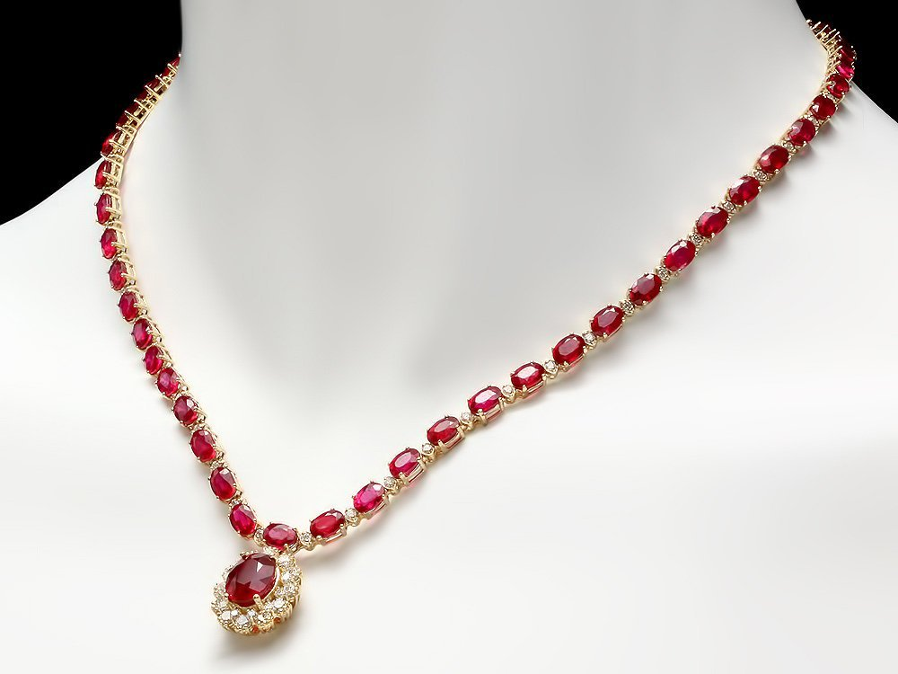 8: $23890 CERTIFIED 14K YELLOW GOLD 40.5CT RUBY 2.55CT