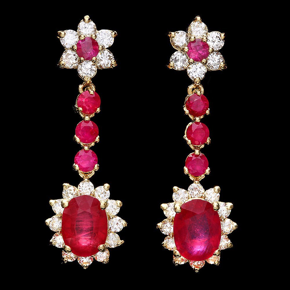 37: $9580 CERTIFIED 14K YELLOW GOLD 5CT RUBY 1.60CT DIA